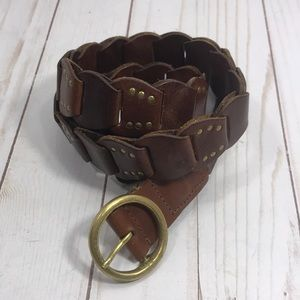 Brown leather studded disc belt